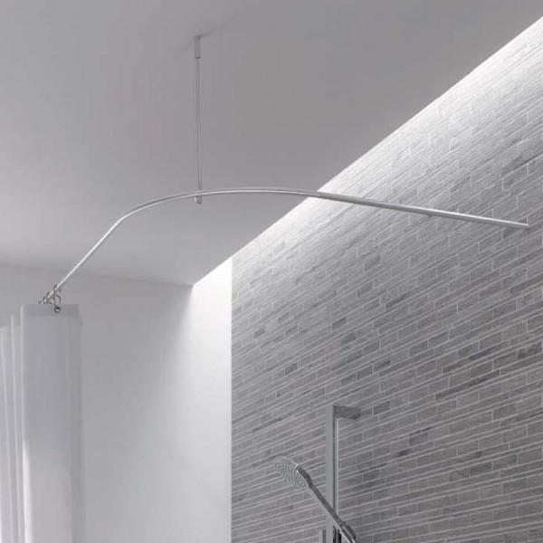 Shower Curtain Rail Quarter Circle Shape DSB - Ceiling Mount - Stainless Steel