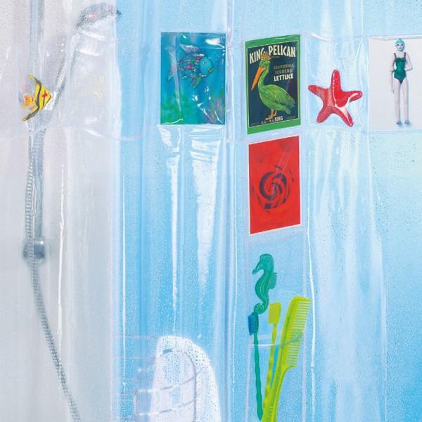 Plastic Shower Curtain 180x200 Postcard Clear