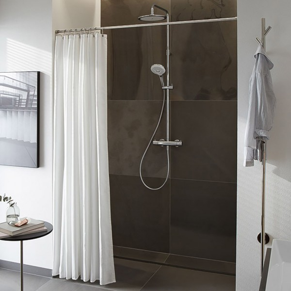 Shower Curtain Bar DSRN - &Oslash 20 mm - Wall Mount - Stainless Steel