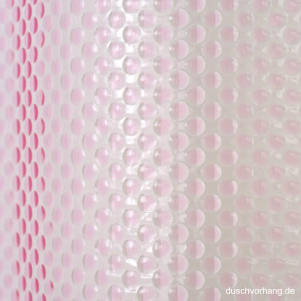 Plastik Shower Curtain 180x180 Bubbles Pink Transparent