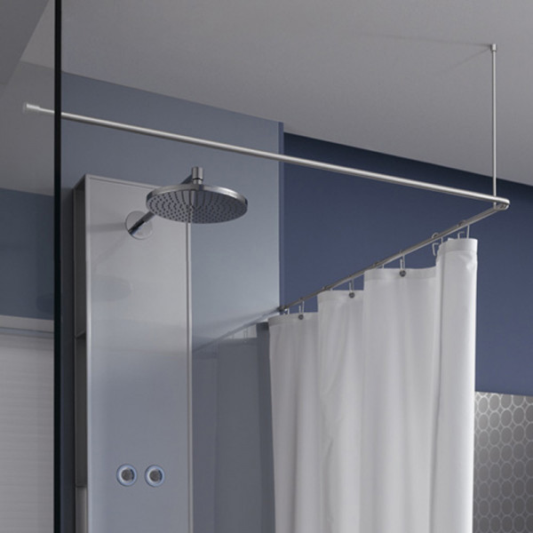 Shower Curtain Rail L Shape DSE 100 - Ceiling Mount - Stainless Steel
