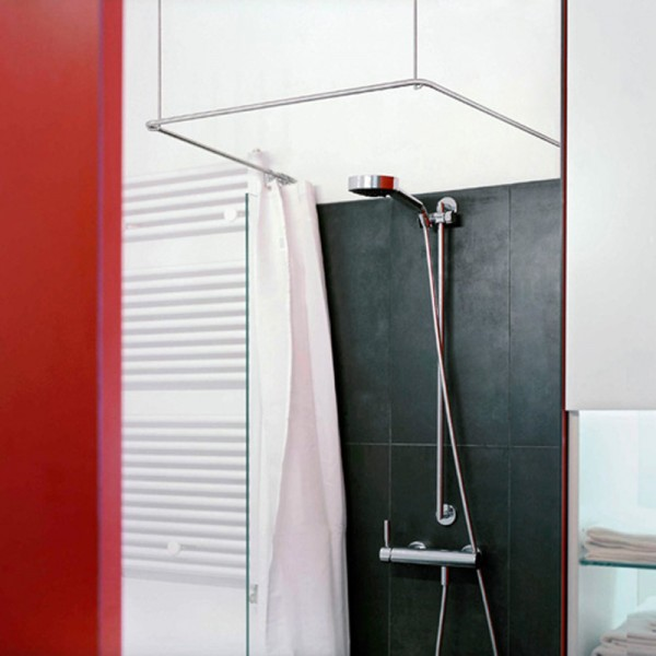 Shower Curtain Rail U Shape DS U 1000 - Ceiling Mount - Stainless Steel