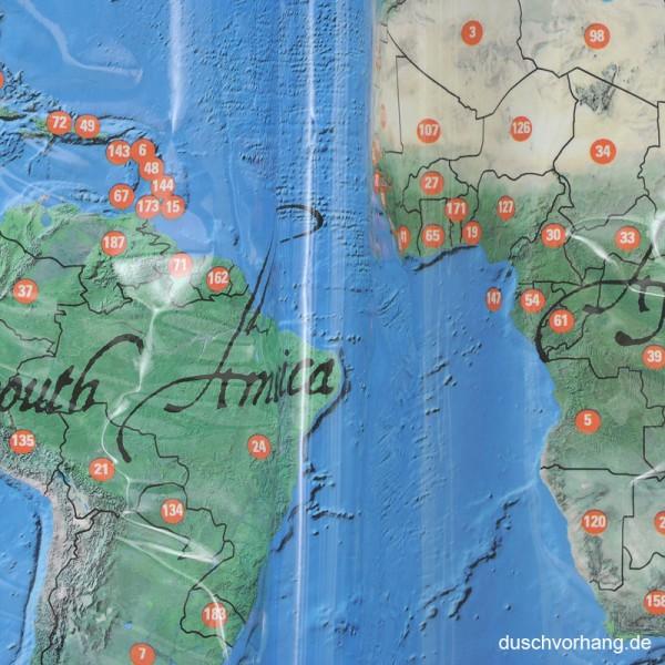 Plastic Shower Curtain 180x180 World Map