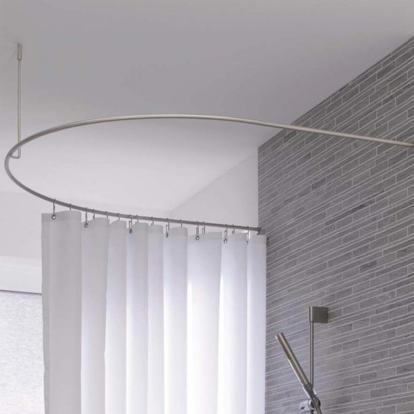 Shower Curtain Rod Half Circle Extended DR50HD80 - Ceiling Mount - Stainless Steel